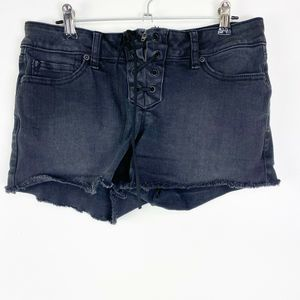 Blackheart Low Rise Shorts Lace-Up Distressed
